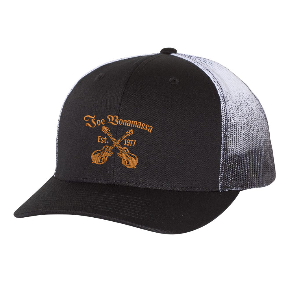 Always On The Road Printed Mesh-Back Trucker Hat - Black Fade