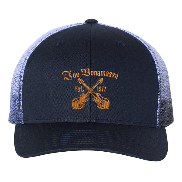 Always On The Road Printed Mesh-Back Trucker Hat - Navy Fade