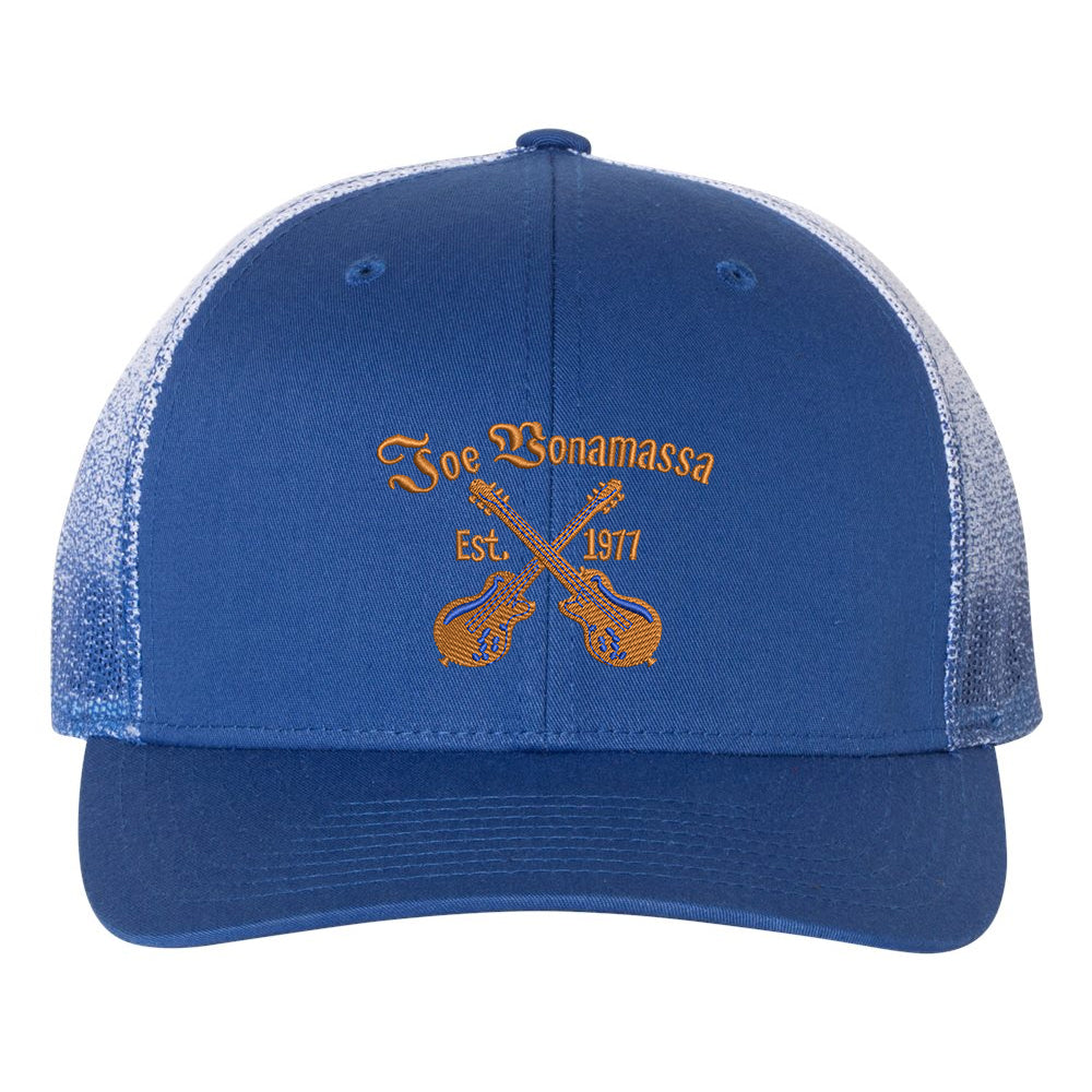 Always On The Road Printed Mesh-Back Trucker Hat - Royal Fade