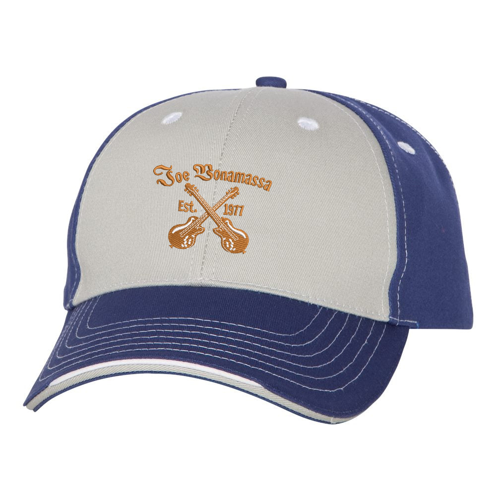 Always On The Road Tri-Color Hat - Grey/Royal