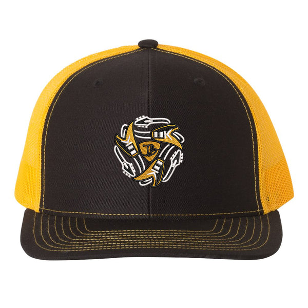 Always On The Road Flying V Snapback Trucker Hat - Black/Gold