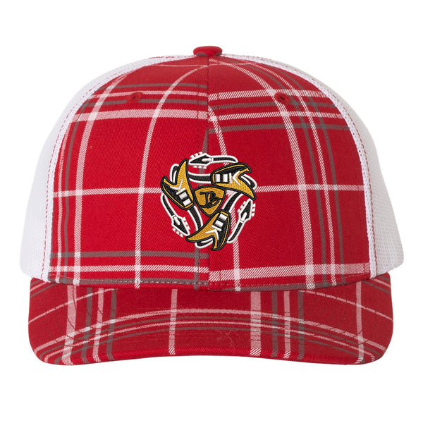 Always On The Road Flying V Trucker Hat - Plaid/Red