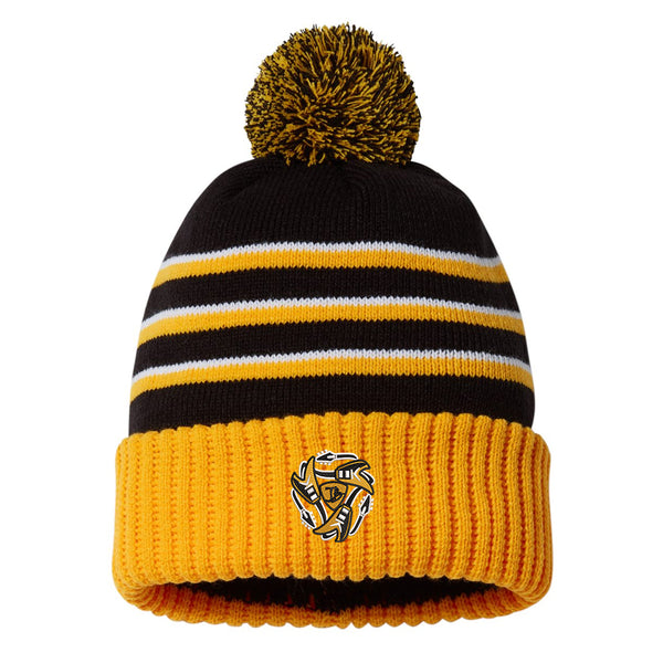 Always on the Road Flying V Stripe Pom Beanie - Black/Gold