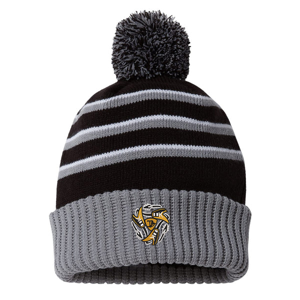 Always on the Road Flying V Stripe Pom Beanie - Black/Grey