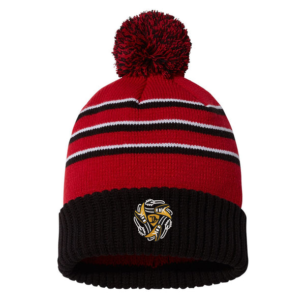 Always on the Road Flying V Stripe Pom Beanie - Red/Black