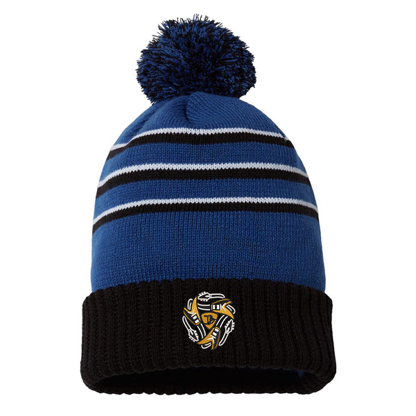Always on the Road Flying V Stripe Pom Beanie - Royal/Black