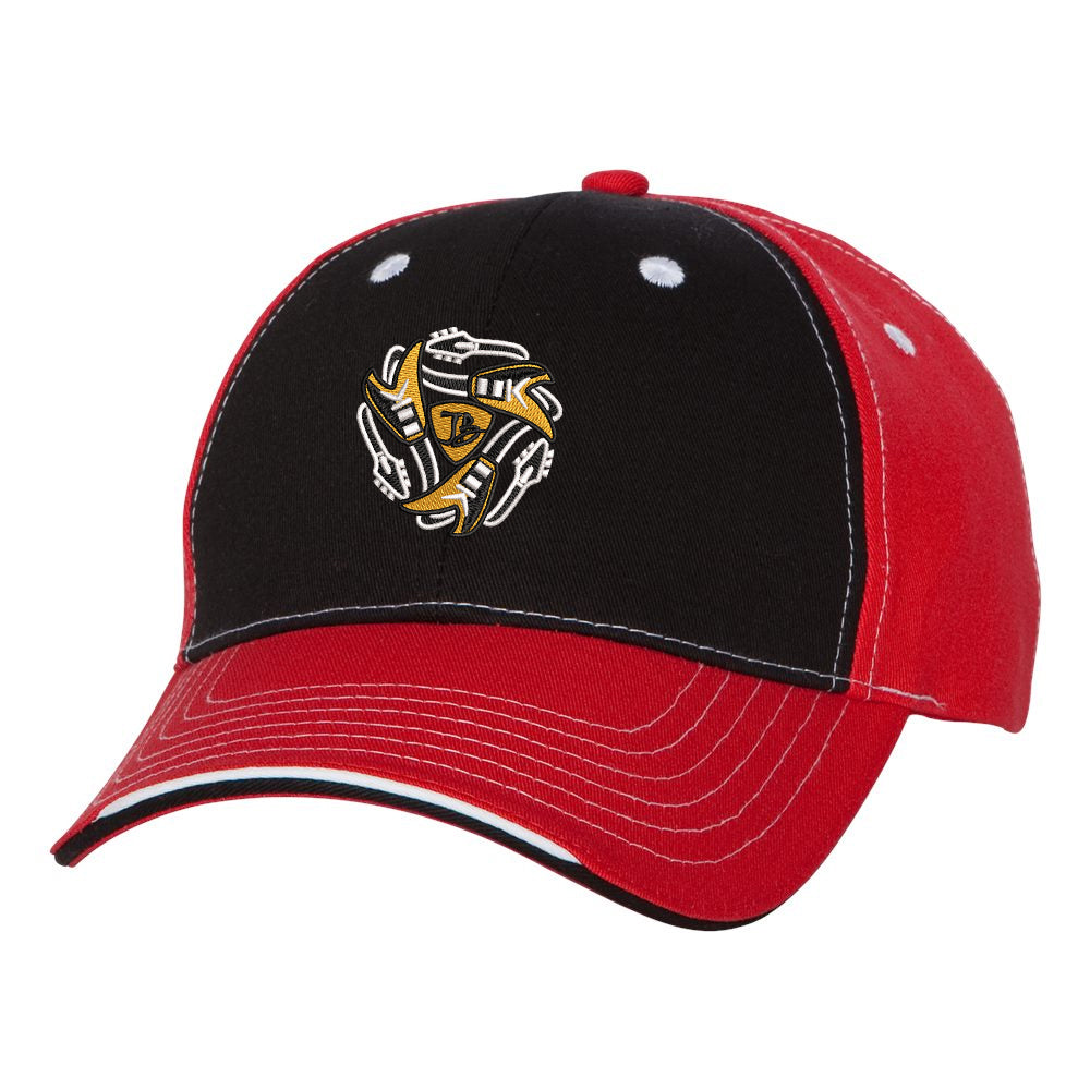 Always On The Road Flying V Tri-Color Hat - Black/Red