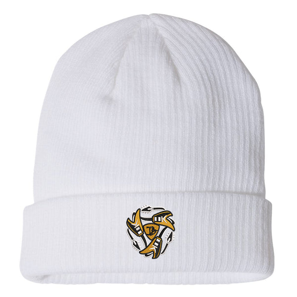 Always on the Road Flying V Champion Ribbed Beanie - White