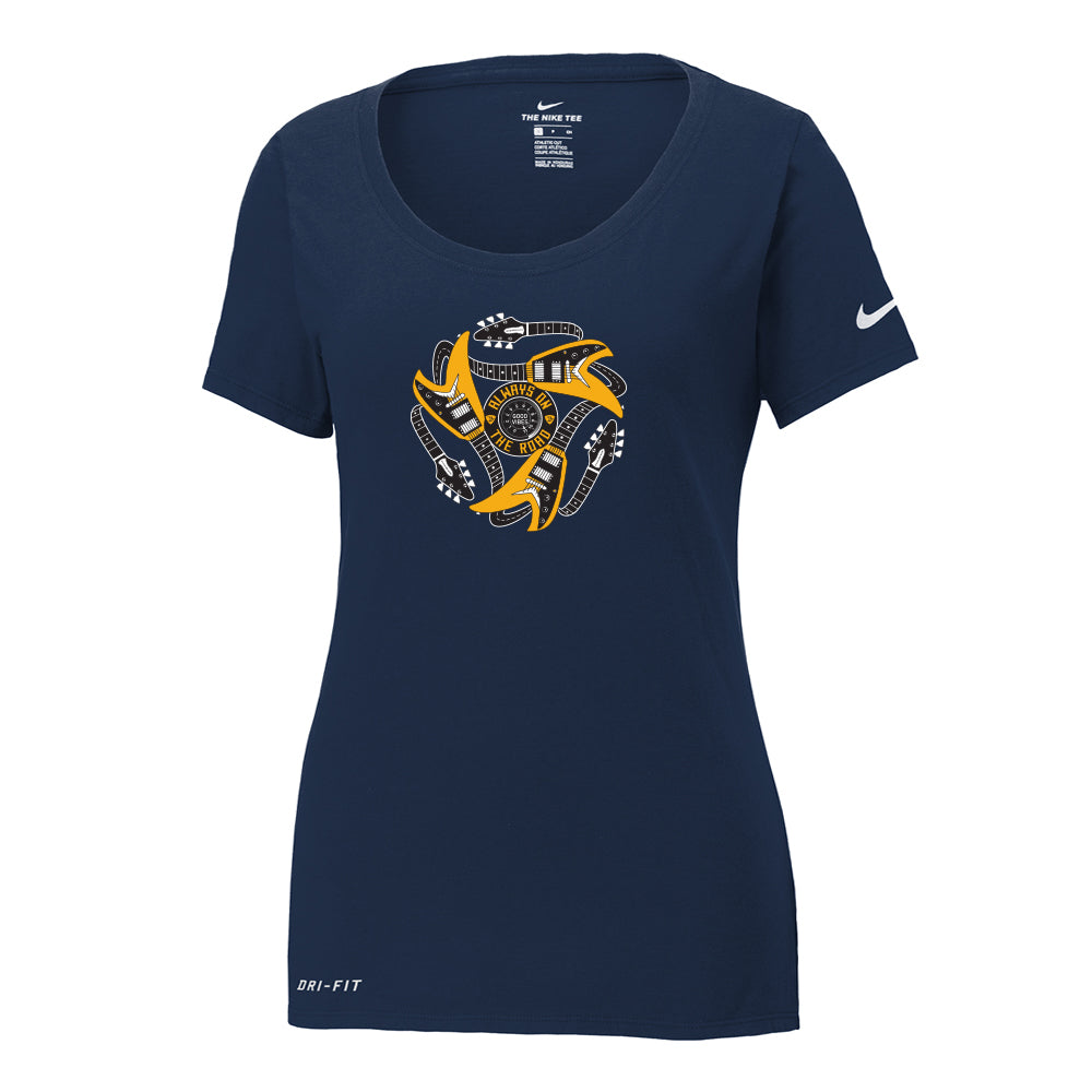 Always on the Road Flying V Nike Dri-FIT Scoop Neck T-Shirt (Women) - Navy