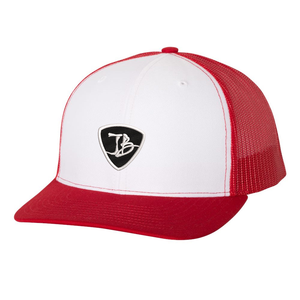 JB Pick Snapback Trucker Hat - White/Red