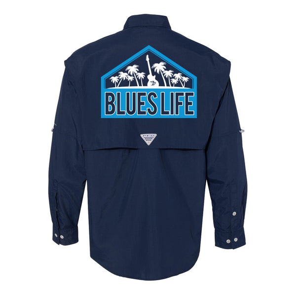 Blues Life Shield Columbia PFG Bahama II Long Sleeve (Men) - Navy