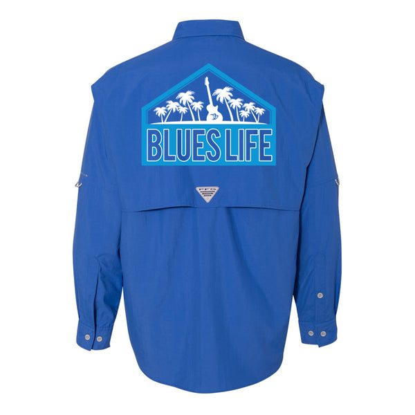 Blues Life Shield Columbia PFG Bahama II Long Sleeve (Men) - Vivid Blue