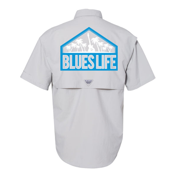 Blues Life Shield Columbia PFG Bahama II Short Sleeve (Men) - Grey
