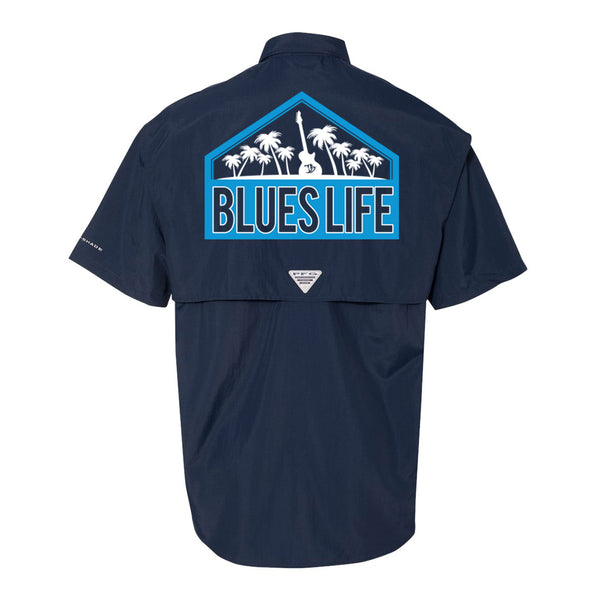 Blues Life Shield Columbia PFG Bahama II Short Sleeve (Men) - Navy