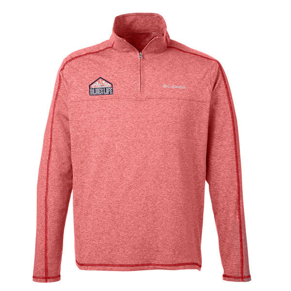 Blues Life Shield Columbia Tenino Hills II Half-Zip Pullover (Men) - Red