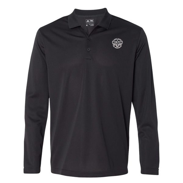 Blues Rock Adidas Long Sleeve Polo Shirt (Men) - Black