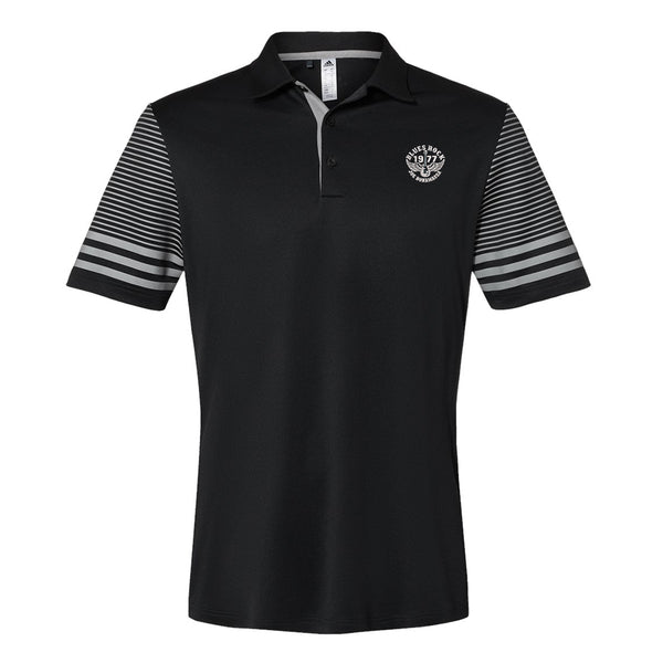 Blues Rock Adidas Striped Sleeve Polo Shirt (Men) - Black