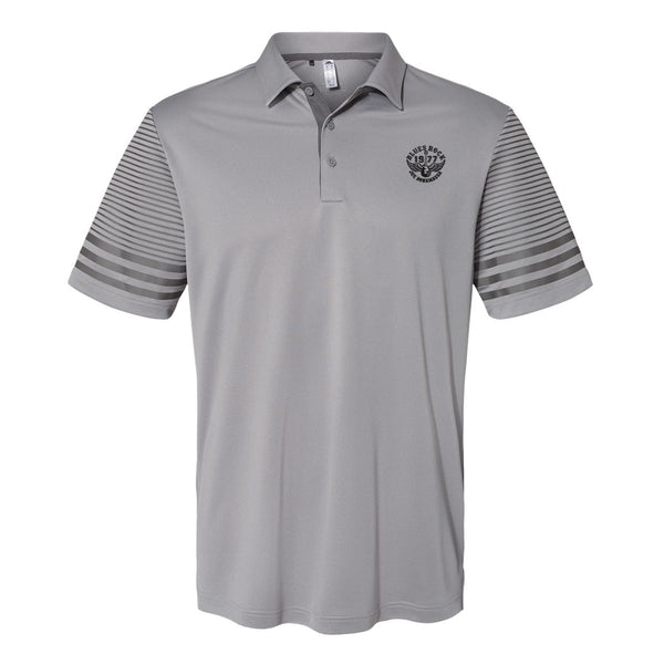 Blues Rock Adidas Striped Sleeve Polo Shirt (Men) - Grey