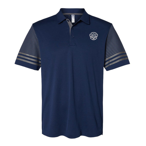 Blues Rock Adidas Striped Sleeve Polo Shirt (Men) - Navy