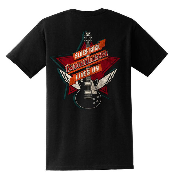 Blues Rock Lives On Pocket T-Shirt (Unisex)