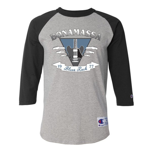 Blues Rock Guitar Logo Champion Baseball T-Shirt (Unisex) - Black/Heather Grey