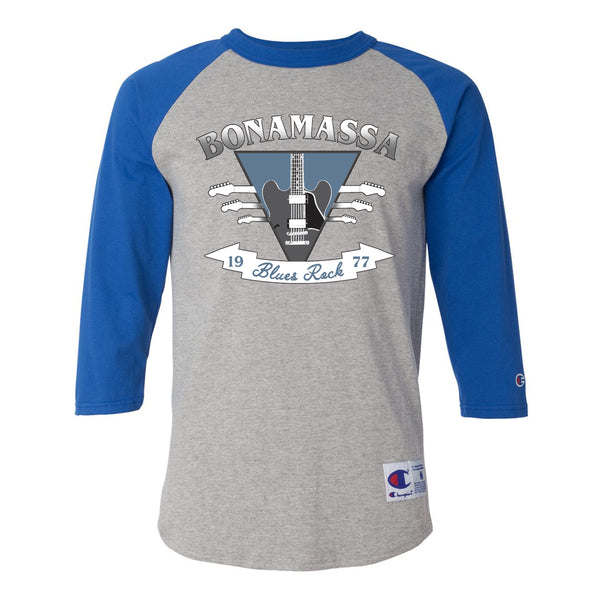 Blues Rock Guitar Logo Champion Baseball T-Shirt (Unisex) - Royal/Heather Grey