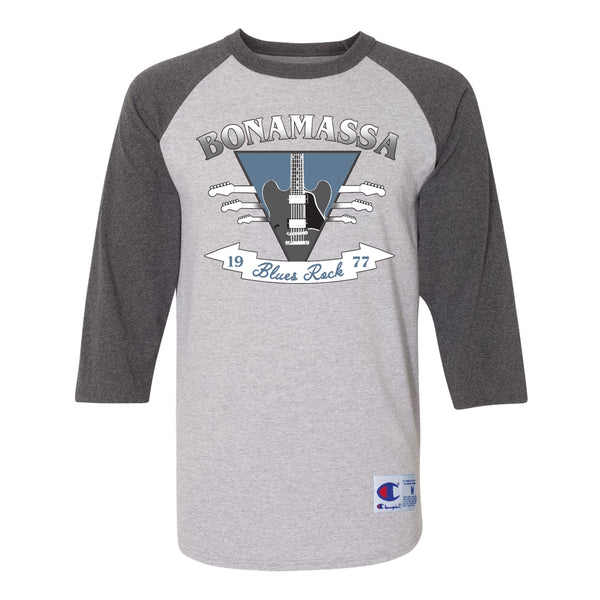 Blues Rock Guitar Logo Champion Baseball T-Shirt (Unisex) - Charcoal/Heather Grey