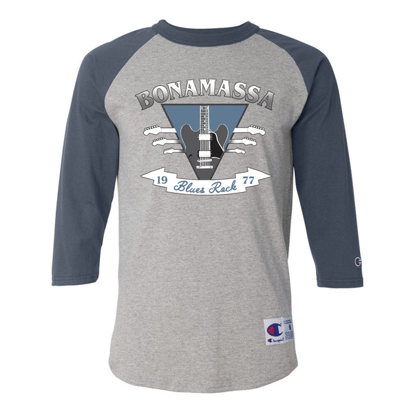 Blues Rock Guitar Logo Champion Baseball T-Shirt (Unisex) - Navy/Heather Grey