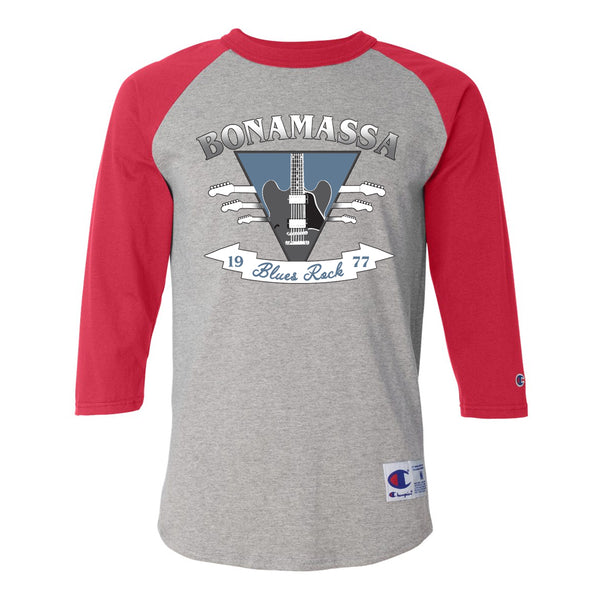 Blues Rock Guitar Logo Champion Baseball T-Shirt (Unisex) - Red/Heather Grey