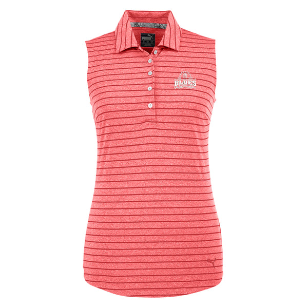 Blues Seal Puma Golf Rotation Stripe Sleeveless Polo (Women) - Red