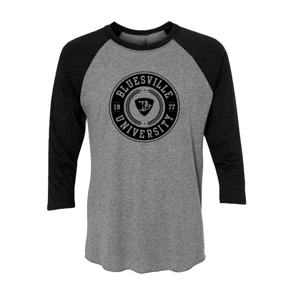 Bluesville University 3/4 Sleeve T-Shirt (Unisex) - Vintage Black/Heather Grey