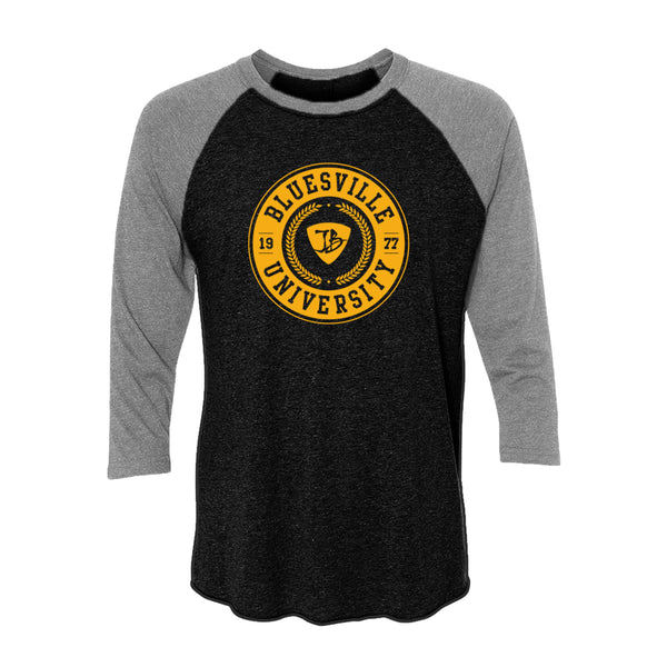 Bluesville University 3/4 Sleeve T-Shirt (Unisex) - Heather Grey/Vintage Black
