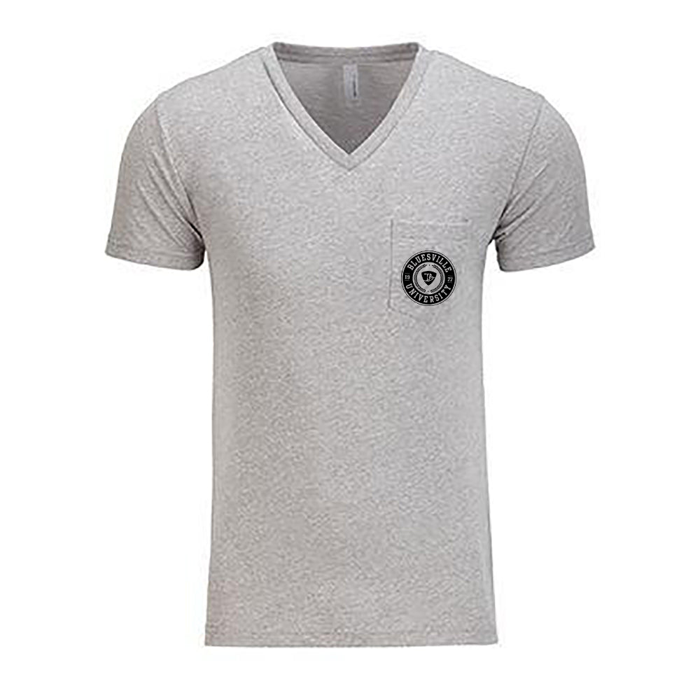 Bluesville University V-Neck Pocket T-Shirt (Men) - Heather Grey