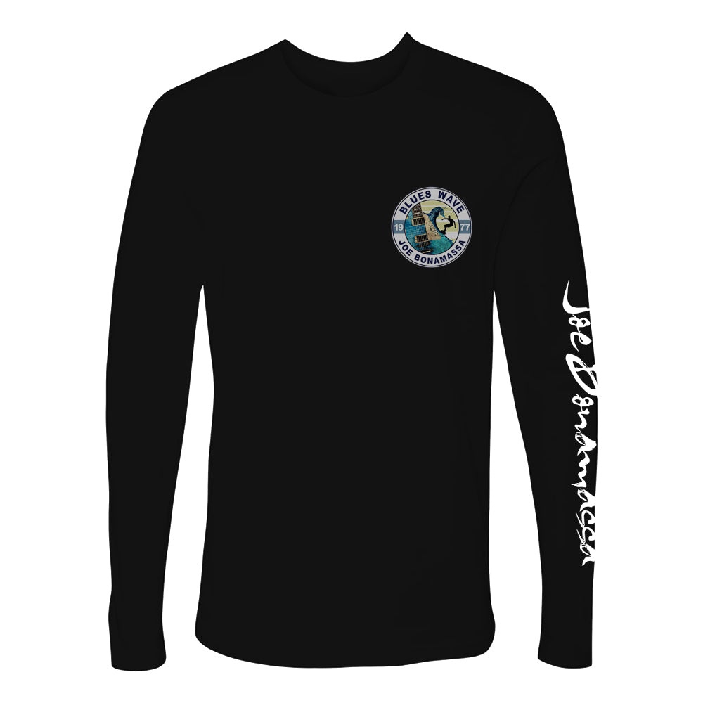 Blues Wave T-shirt - Black Long Sleeve (Men)