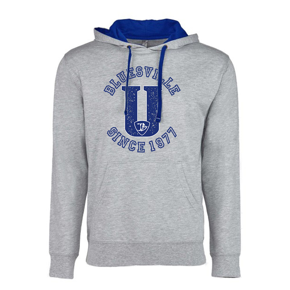 "Bluesville ""U Logo Hooded Pullover (Unisex) - Heather Grey/Royal"