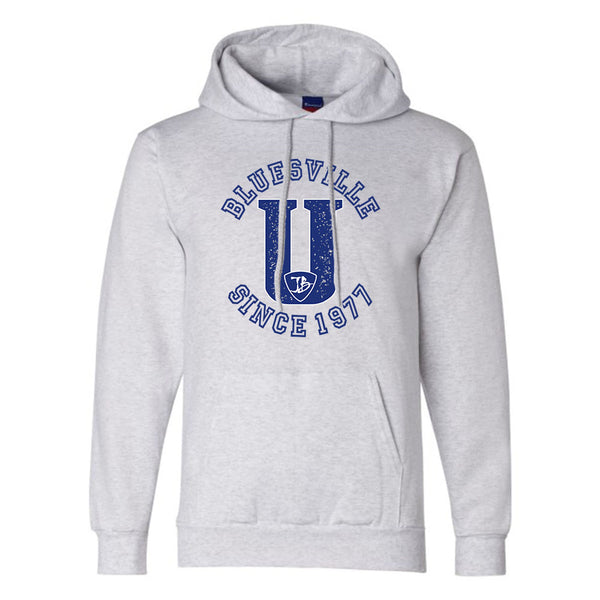 "Bluesville ""U"" Logo Champion Hooded Sweatshirt (Men) - Silver Grey"