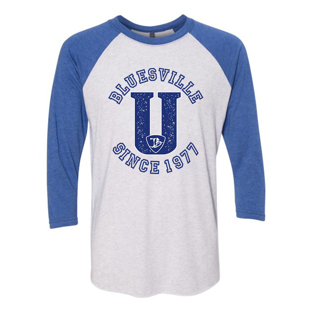 "Bluesville ""U"" Logo 3/4 Sleeve T-Shirt (Unisex) - Heather White/Vintage Royal"