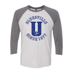 "Bluesville ""U"" Logo 3/4 Sleeve T-Shirt (Unisex) - Heather White/Premium Heather Grey"