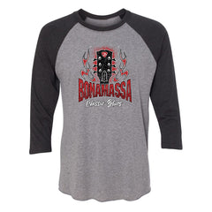 Bonamassa Classic Blues 3/4 Sleeve T-Shirt (Unisex) - Vintage Black/ Heather Grey