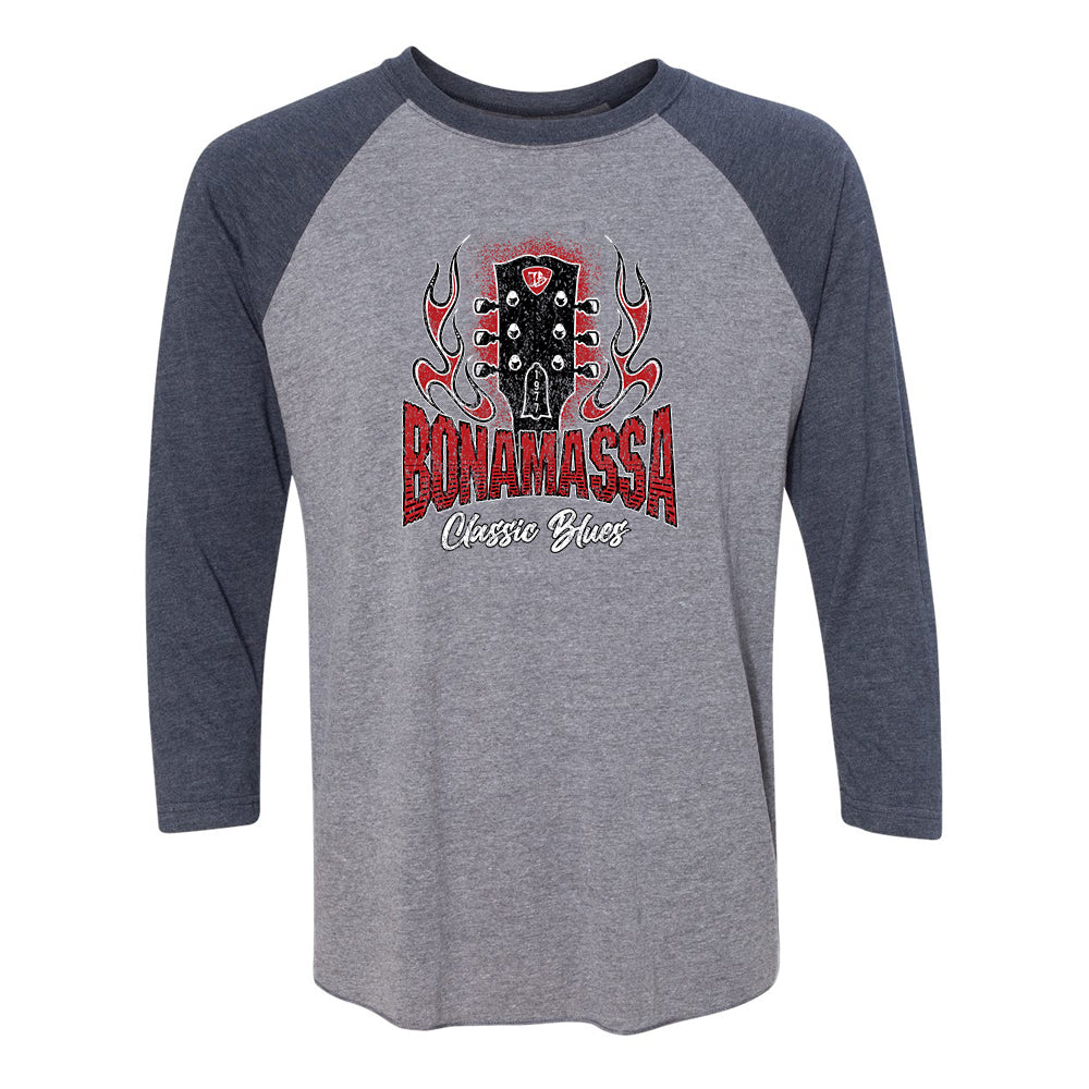 Bonamassa Classic Blues 3/4 Sleeve T-Shirt (Unisex) - Navy/ Heather Grey