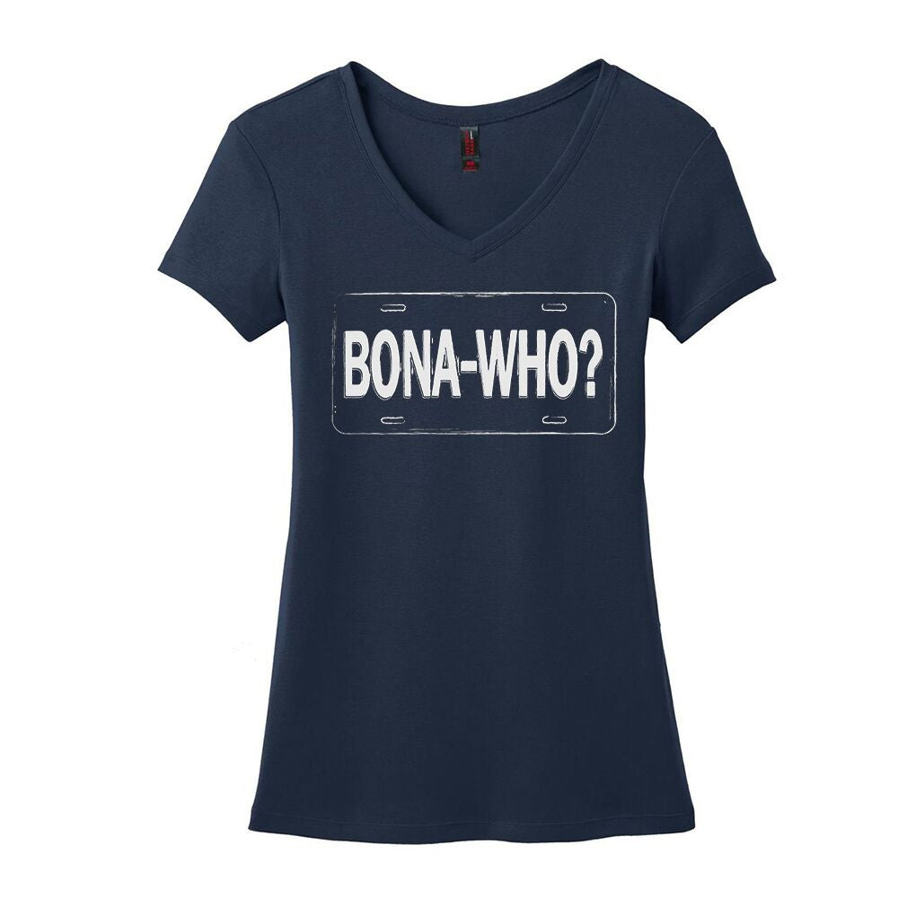 Bona Who? License Plate V-Neck (Women) - Navy