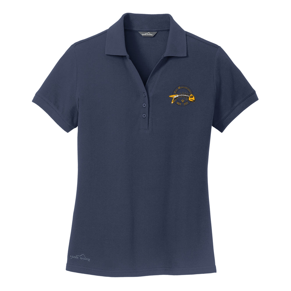Blues to the Bone Eddie Bauer Pique Polo (Women) - Navy