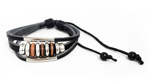Silver Beaded Leather Bracelet (Unisex) - Black