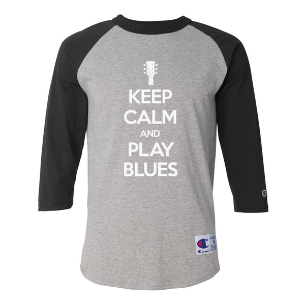 Keep Calm and Play Blues Champion Baseball T-Shirt (Unisex) - Black/Heather Grey