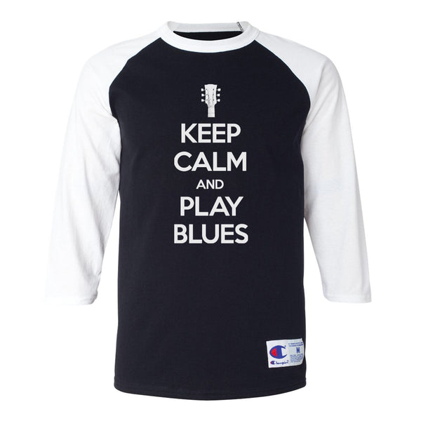 Keep Calm and Play Blues Champion Baseball T-Shirt (Unisex) - White/Black