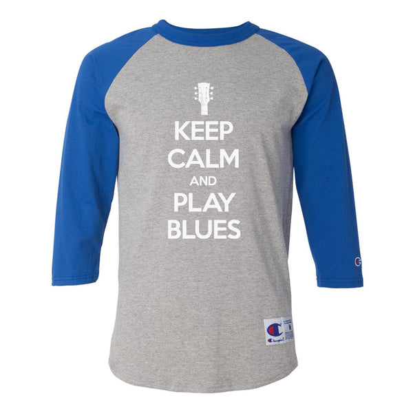 Keep Calm and Play Blues Champion Baseball T-Shirt (Unisex) - Royal/Heather Grey