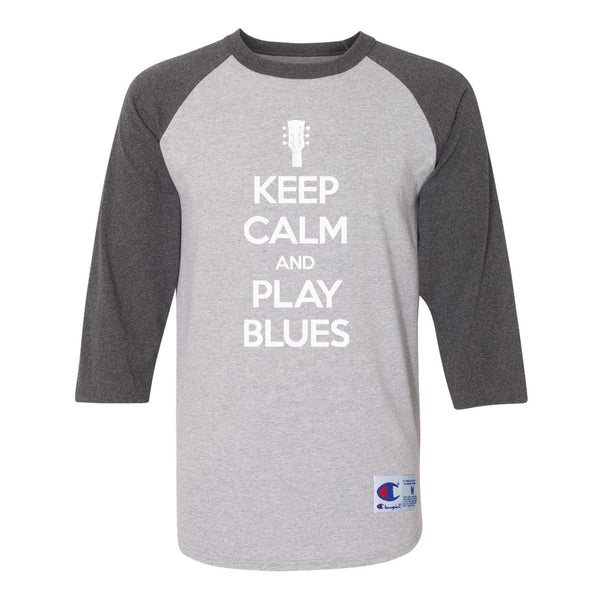 Keep Calm and Play Blues Champion Baseball T-Shirt (Unisex) - Charcoal/Heather Grey