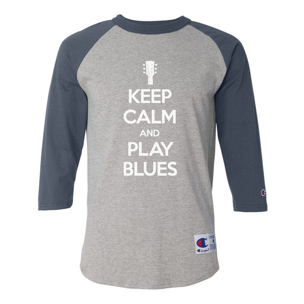 Keep Calm and Play Blues Champion Baseball T-Shirt (Unisex) - Navy/Heather Grey