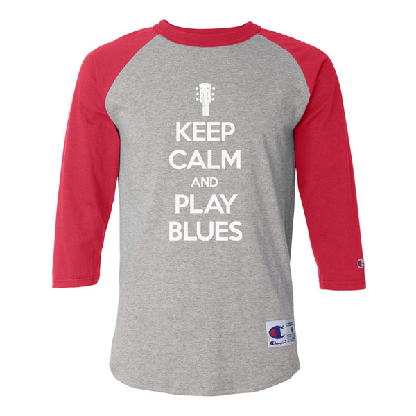Keep Calm and Play Blues Champion Baseball T-Shirt (Unisex) - Red/Heather Grey