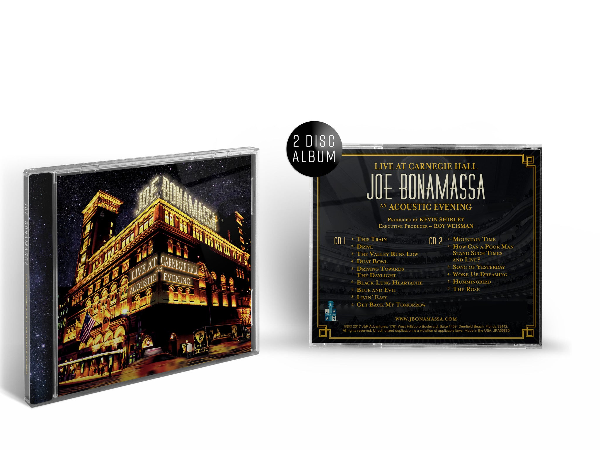 Joe Bonamassa: Live at Carnegie Hall - An Acoustic Evening (CD) (Released: 2017) ***PRE-ORDER***